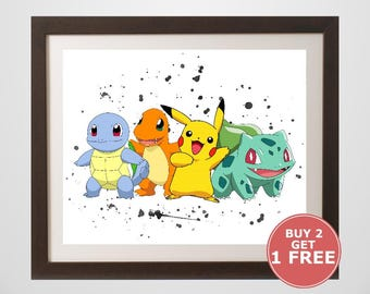 Pikachu, Charmander, Squirtle, Bulbasaur Print, Halo watercolor, home arts, decor, cartoon kids Illustration, Gift, Anime Poster TV009