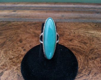 Vintage Chrysoprase and Sterling Silver Ring - Size 5 3/4