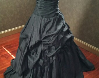 Black Wedding Dress with Halter Strap