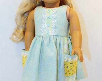 Sun Dress, 18 inch Doll Clothes,