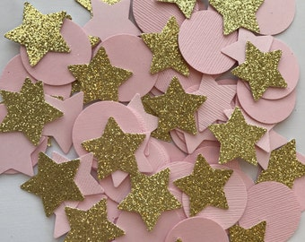 Pink and Gold First Birthday Decorations, Confetti Table Decor, Girl Baby Shower, Pink and Gold Party Decorations,Gold Glitter Star Confetti