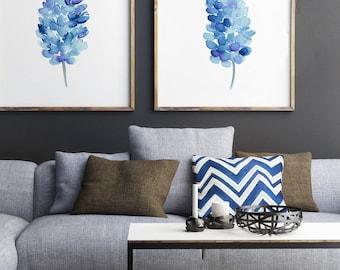 Bluebonnets set 2 Flowers, Bluebonnet Giclee Fine Art Print Blue Flower Wall Decoration Living Room Floral Home Decor Botanical Illustration