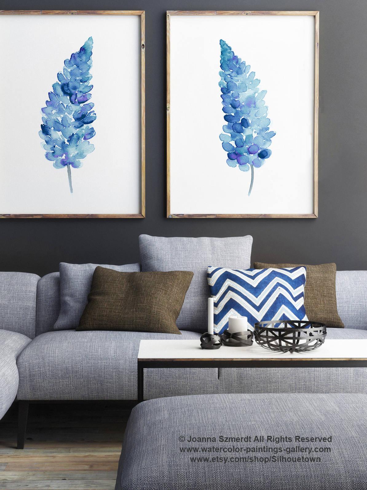 Bluebonnets set 2 flores Bluebonnet Giclee Fine Art Print
