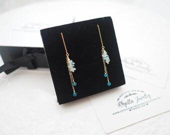 Aquamarine Threader Earrings, Aquamarine Earrings, March Birthstone Earrings, Gift for Her, Gift for Daughter, Aquamarine Long Earrings