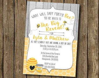 Gender Reveal Invitation Party Invite Honey Bee Yellow Gray What Will It Bee Rustic Wood Boy Or Girl  Printable Digital I Customize For You