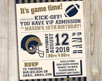 Los Angeles Rams Football Birthday Party Invitation / DIY Printable Download