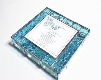 Stained Glass Keepsake Bat Mitzvah Invitation Gift Box Jewelry Box 9x9x2 Custom Made to Order