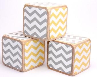 Grey and Yellow Nursery Room - Wooden Baby Blocks - Chevron - Baby Boy - Baby Girl - Baby Shower Gift - 2 Inch