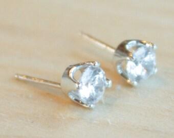 5mm Cubic Zirconia Argentium Silver Earrings - 4 Prong - Nickel Free Hypoallergenic Stud Earrings