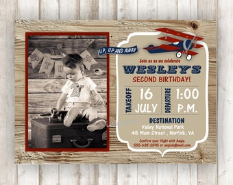 Airplane Party Invitation Vintage Airplane Birthday Invitation Airplane Invite Boy Birthday Printable Invite Boy Birthday Invitation BRAP02