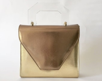 VTG 90s Architectural Faux Leather Metallic Bronze and Gold Structured Box Purse with Oversized Clear Lucite Handle