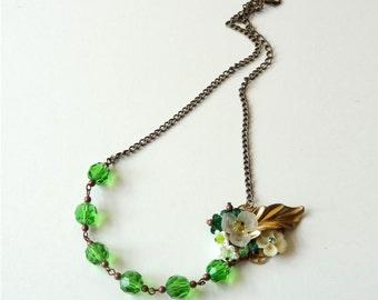 Green Bouquet - NECKLACE - secret garden series with vintage parts