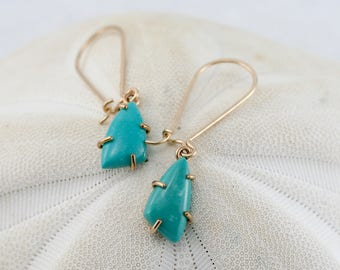 turquoise drop earrings, turquoise and gold filled earrings, prond set turquoise earrings, Rachel Wilder Handmade Jewelry