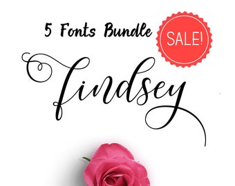 SALE 5 Fonts Bundle - Calligraphy font - Font download - Handwritten font - Watercolor font - Wedding font - Font instant download