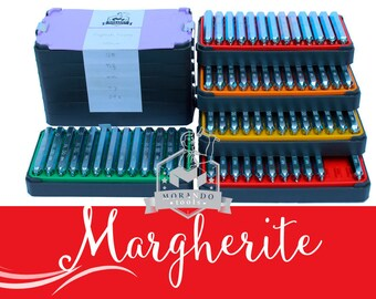 MARGHERITE  font STAMPS, Complete Set. Different Size Option ;) Professional tool Stamps
