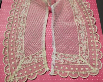 Antique Lace Vintage Lace Collar Pintucked Tulle Mixed Lace Polka Dots