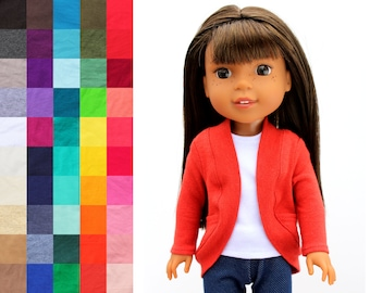 Fits like Wellie Wishers Doll Clothes - Tea Cardigan with Pockets, You Choose Color and Sleeve Length   14.5 Inch Doll Clothes