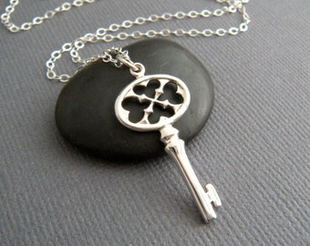 """sterling silver victorian key necklace small gothic skeleton key jewelry criss cross dainty delicate charm filigree pendant romantic 1 1/4"""""""