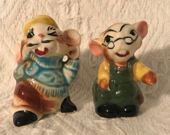 Vintage Anthropomorphic Mouse Salt And Pepper Shakers, Salt & Pepper Shakers, Mouse Salt and Pepper, Mice