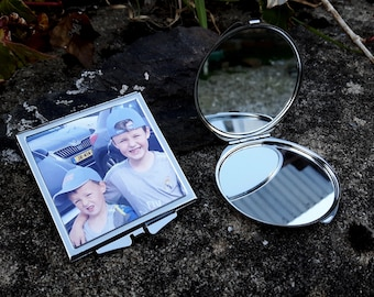 Personalised compact mirror, your photo mirror, gift for her, girl's gift, makeup mirror, bridesmaid gift, photo gift, personalised mirror