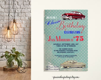 Adult Men's Birthday Invitation, male, masculine, antique, car, classic, 50th, 60th, 65th, 70th, 80th 90th, digital, printable invite