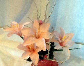 Embossed Pink Vase  & Saucer with Lilly Flower Decorations-Free Shipping