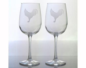 Rooster  Wine Glass / Free Personalization / Set of 2 / 16 oz Wine Glass / Etched Rooster Glass / Personalized Glass / Personalized Gift