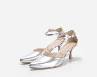 Platinum Silver Custom Made Heels, Metallic Silver Pointy Pumps, Silver Wedding Shoes, Silver Dinner Heels