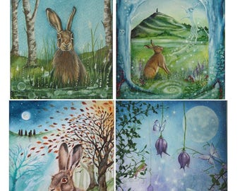 Hares. A6 Art Greetings Cards  Pack of Four