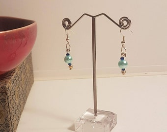 Baby Blue Pearl Hand Crafted Earrings