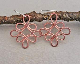 Looping Celtic Crossed Knots Copper Earrings, Celtic Jewelry, Celtic Knot Earring, Copper Jewelry, Handmade Gift for Women, Dangle Earrings
