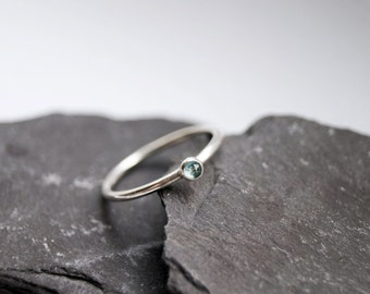 Rose Cut Blue Topaz Sterling Silver Ring ~ statement ring, stacking ring, gemstone, unique, beaded, birthstone, rose cut, solitaire