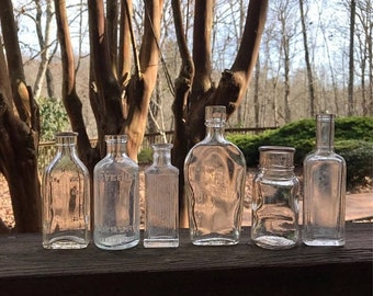 ON SALE Instant Collection (6) SMALL Bottle Group -Sauer's Extract- Listerine- Antique Bottle Lot- B47