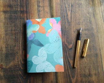 Handmade Tropical Butterfly Patterned Pocket Notebook/ Journal/ Pocketbook in Pearly Green