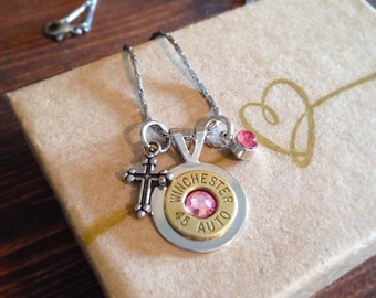 Winchester 45 Auto Bullet Brass Necklace with Cross Charm and Pink Swarovski Crystals