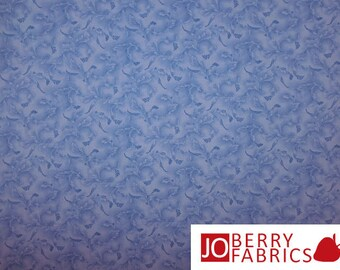 Blue Leaf Tonal Fabric, Victoria's Terrace by Choice, Quilt or Craft Fabric, Fabric by the Yard