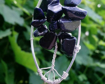 Blue Goldstone Tree of Life - Healing Necklace