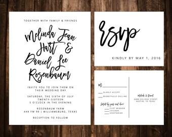 Black & White Wedding Invitations; Printable OR set of 25