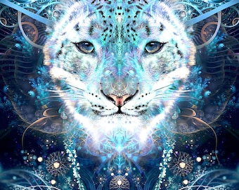 Snow Leopard Art, Visionary Art, Psychedelic Art, Fractal Art, Visionary Print, Psychedelic Print, Snow Leopard Painting, Ayahuasca