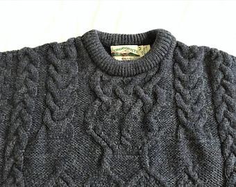 Vintage Aran Crafts Irish Wool Fisherman Sweater XSmall
