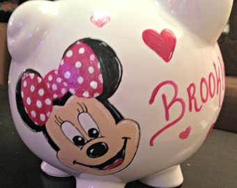 Personalized Hand painted Minnie Mouse Piggy Bank