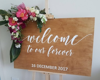 Welcome to our forever wedding Sign | Wooden wedding sign | Personalised wooden sign | Rustic Wedding Sign | Custom sign | Signed by Row