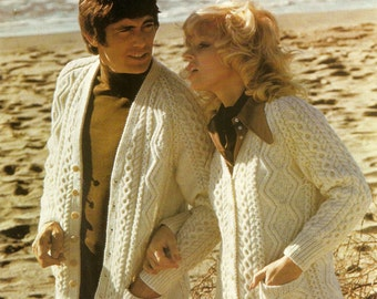 "Knitting Pattern His 'n' Hers Aran Cardigans 34-44""  PDF Instant Download"