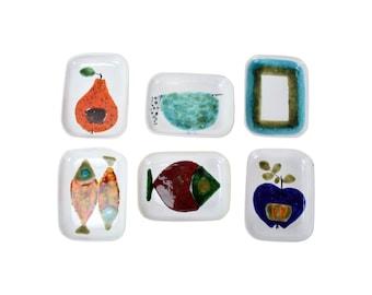 Mid-Century Modern Abstracted Fruit & Animals Dishes Ursula Schneider Atelier Rabiusla