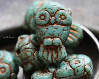 TURQUOISE OWLS No. 2 .. 6 Premium Picasso Czech Glass Owl Beads 11x18mm (5187-6)