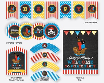 Instant Download, Pirate Party Package, Pirate Birthday Package, Pirate Party Pack, Pirate Party Printable, Pirate Ship, Chalkboard (CKB.52)