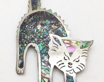 Vintage -Abalone Kitten-Sterling-Silver-925-Brooch-8g-7-2x5cm-