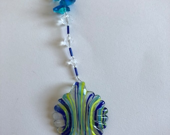 Blue Yellow Glass and Crystal Suncatcher