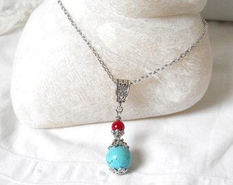 gypsy necklace bohemian necklace boho necklace turquoise necklace gemstone necklace stone jewelry bohemian jewelry turquoise red jewelry