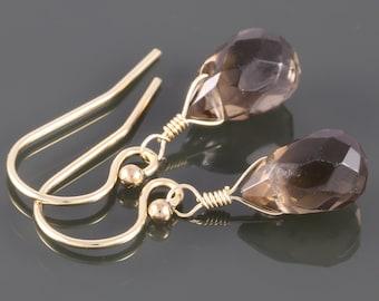 Smoky Quartz Earrings. Gold Filled Ear Wires. Genuine Gemstone. Small Drop Earrings. f16e196